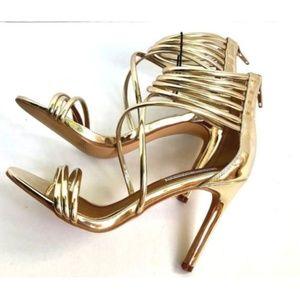 Steve Madden SZ 7 Gold Strappy Stiletto Heels NEW